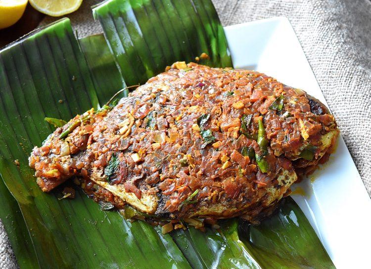 Kerala Meen Pollichathu / Fried Fish in Banana Leaf Wrap - Mozis Menu